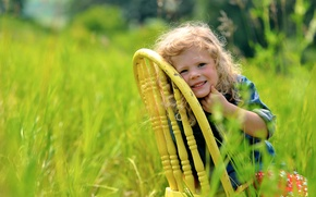 Picture greens, grass, nature, smile, chair, girl, child