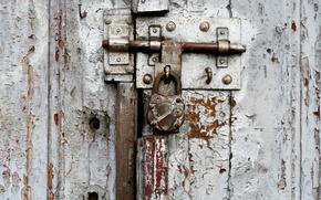 Picture metal, white, nail, door, old padlock, screw