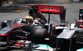 Picture track, overtaking, turn, formula 1, pilot, mercedes, Mercedes, formula 1, racer, 2011, Monaco, formula one, …