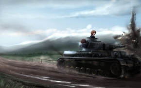 Picture Field, Road, Mountains, The fence, The explosion, Anime, Tank, Girls and plant