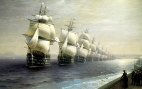 Picture sea, painting, Aivazovsky Ivan, the review of the troops of the black sea fleet in ...
