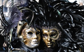 Picture feathers, mask, carnival of venice