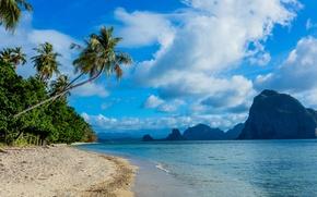 Picture sand, sea, beach, the sky, clouds, tropics, palm trees, rocks, coast, Philippines