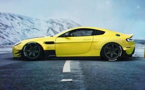 Wallpaper Aston Martin, Car, Yellow, Side, Sport, Vanquish, Stance