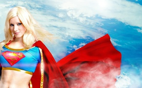 Picture girl, blonde, superwoman, superwoman