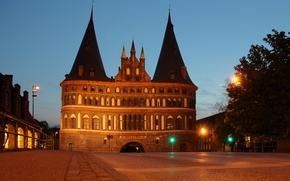 Wallpaper architecture, Germany, gate, Holstentor, Luebeck, city, lights, night, lights, monument