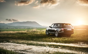 Picture field, sunset, Land Rover, Range Rover IV