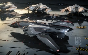Picture game, fiction, Military, military equipment, Spaceship, Sabre, Star Citizen, Sci-Fi, Aegis, space, space sim, Star …