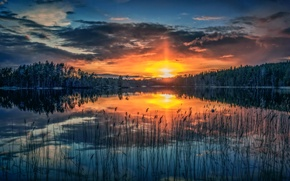 Picture the sun, sunset, lake