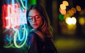 Picture girl, face, lights, hair, the evening, glasses, Charlotte
