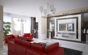 Picture red, design, room, sofa, interior