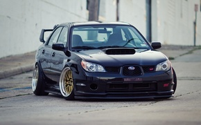 Picture Subaru, Impreza, Machine, Black, Japan, Car, Car, STI, Subaru, Impreza, Wallpapers, Tuning, Beautiful, Wallpaper, Low, ...