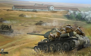 Picture field, figure, army, art, soldiers, red, tanks, offensive, Soviet, World of Tanks, T-34-85, Nikita Bolyakov, ...