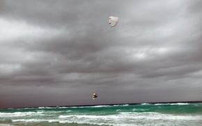 Picture sea, wave, flight, squirt, the wind, sport, athlete, Cuba, Windsurfing, serving