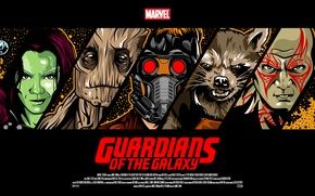Picture Rocket, Star-Lord, Guardians of the Galaxy, Gamora, Groot, Drax