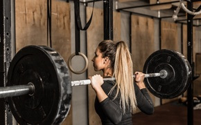 Picture blonde, workout, fitness, weight, weight bar