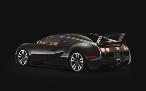 Wallpaper Veyron, spoiler, black, bugatti