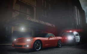 Picture Corvette, Chevrolet, Muscle, Orange, Car, Police, Ligth