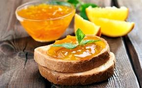 Picture orange, food, bread, jam, sandwiches