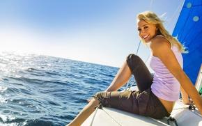 Wallpaper relax, waves, girl, sky, sea, smile, sun, mood, blonde, yacht, wind, boat, vacation, joy, sailing, ...