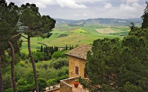 Picture the sky, trees, house, hills, Italy