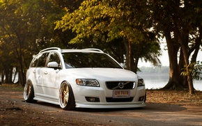Picture Volvo, Machine, Tuning, White, Volvo, Car, Car, White, Tuning, Stance, Slammed, F50, V50