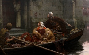 Wallpaper child, river, knight, woman, knight, In dangerous times, In time of peril, castle, picture, woman, ...
