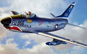 """Picture art, airplane, painting, aviation, jet, F-86D sabre dog """"shark teeth"""