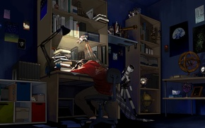 Picture night, room, books, sleep, anime, art, guy, telescope, mess, anime, art