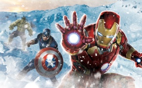 Picture cold, snow, Hulk, iron man, captain America, the Avengers, avengers