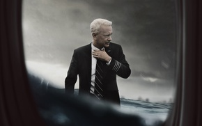 Picture water, the plane, New York, the window, captain, poster, drama, Tom Hanks, Tom Hanks, Hudson, ...