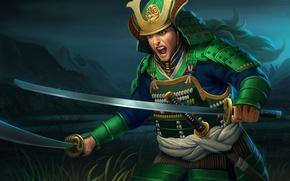 Picture night, weapons, Asia, sword, art, rage, samurai, male, Creek, armor, rope