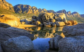 Picture the sky, mountains, lake, stones, rocks, home