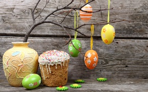 Wallpaper branch, Easter, Eggs, vase, Holiday, Cake, Easter, eggs, Cakes