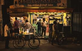 Picture night, street, people, shop, urban scene