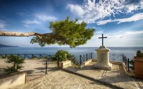 Picture tree, statue, The sea, a patio