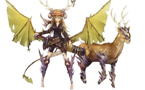 Picture girl, weapons, animal, wings, anime, deer, art, horns, armor, sinlaire