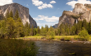 Picture trees, mountains, Park, rocks, waterfall, CA, USA, river, Yosemite