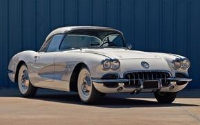 Picture white, Corvette, Chevrolet, Chevrolet, the front, 1958, Corvette