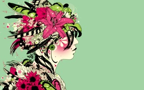 Picture girl, flowers, face, fantasy, feathers