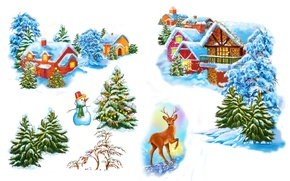 Picture Home, Snow, Spruce, Deer, New year, Holiday, Snowman