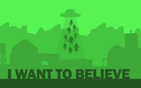 Picture UFO, minimalism, aliens, kidnapping, aliens, green background, i want to believe, the x files, classified …