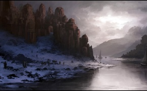 Picture winter, the sky, clouds, snow, river, people, castle, ships, art, twilight, Andreas Rocha