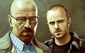 Picture Breaking Bad, Bryan Cranston, Walter White, Aaron Paul, Jesse Pinkman, Heisenberg