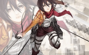 Picture look, girl, flight, background, soldiers, swords, art, cables, shingeki no kyojin, mikasa ackerman, hq19910119