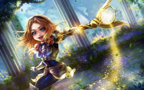 Picture girl, movement, magic, columns, armor, rod, League of Legends, Chibi Lux