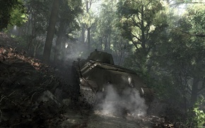 Wallpaper forest, smoke, art, tank, T-34-76, Soviet Tank, War thunder, hibikirus
