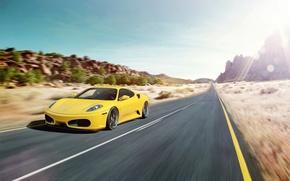 Picture road, glare, speed, F430, Ferrari, Ferrari, yellow, yellow