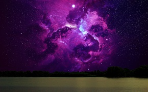 Picture forest, water, space, stars, night, nebula, river, loneliness, the night sky, cluster of stars