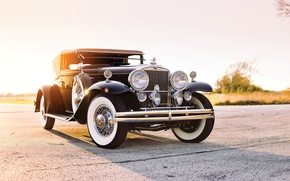 Picture road, field, car, road, old, classic, american, 1931, STUTZ, CONVERTIBLE